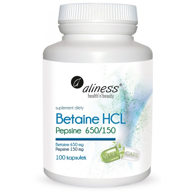Aliness Betaine HCL, Pepsyna 650/150 mg 100 kaps
